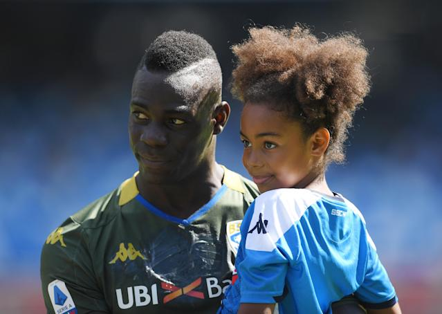 Mario Balotelli was upset that his daughter heard the racist chants directed at her father earlier this month in a match against Verona. That wouldn't happen in MLS. (Francesco Pecoraro/Getty)