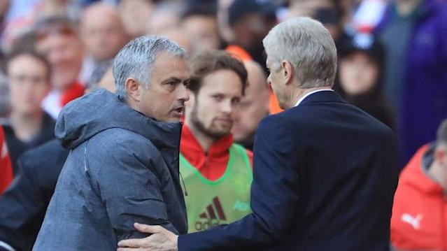 LONDON, ENGLAND - MAY 07: Jose Mourinho, Manager of Manchester United and Arsene Wenger, Manager of Arsenal shake hands after the Premier League match between Arsenal and Manchester United at the Emirates Stadium on May 7, 2017 in London, England. (Photo by Richard Heathcote/Getty Images)