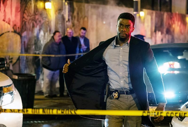 Chadwick Boseman plays Andre Davis in the new police thriller '21 Bridges' (Photo: Matt Kennedy/STXfilms/courtesy Everett Collection)
