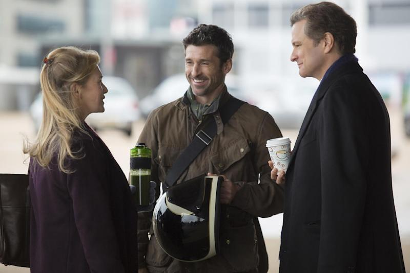 """This image released by Universal Pictures shows Renee Zellweger, from left, Patrick Dempsey and Colin Firth in a scene from """"Bridget Jones's Baby."""" (Giles Keyte/Universal Pictures via AP)"""