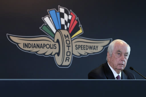 FILE - In this Monday, Nov. 4, 2019, file photo, Penske Corporation Chairman Roger Penske responds to a question about the sale of the Indianapolis Motor Speedway, IndyCar and related business from Hulman & Company to Penske Corporation, at a news conference in Indianapolis. Penske this week celebrated the crowning achievement of a career so rich in Americas fabric that he last month received the Presidential Medal of Freedom by buying iconic Indianapolis Motor Speedway. On Sunday he will watch two of his drivers try to make NASCARs championship race. (AP Photo/AJ Mast, File)