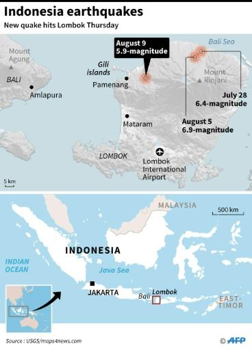Close-up map of Lombok where a new earthquake struck on Thursday
