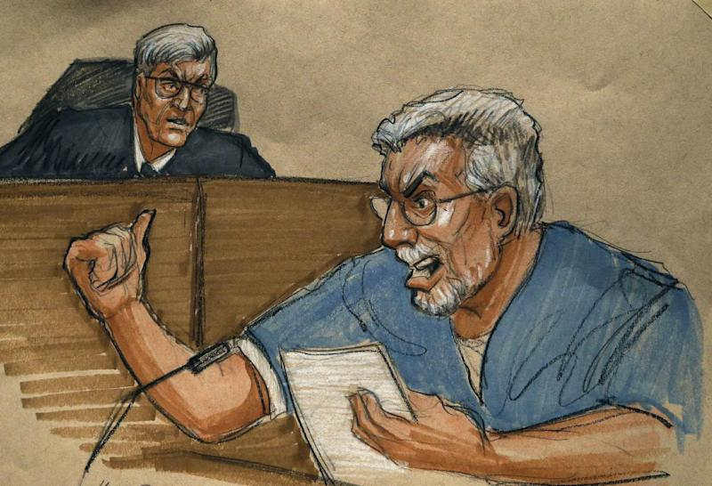 In this courtroom sketch Drew Peterson, right, address the court and Judge Edward Burmila during Peterson's sentencing at the Will County Courthouse for the 2004 murder of his third wife Kathleen Savio Thursday, Feb. 21, 2013, in Joliet, Ill. Burmila sentenced Peterson to 38 years in prison. (AP Photo/Tom Gianni)