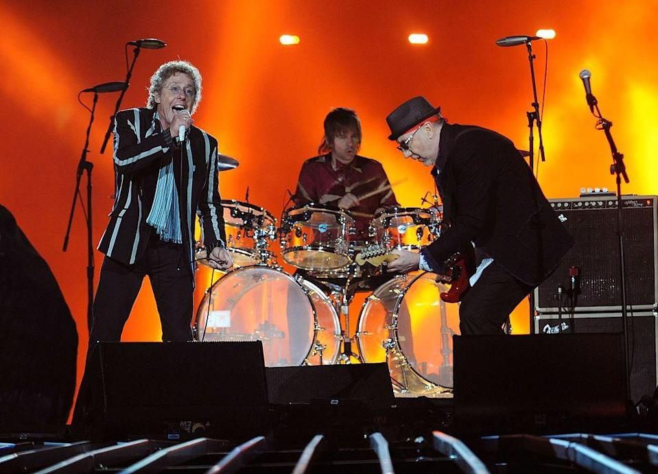 """<p>Roger Daltrey wore a striped jacket, while Pete Townsend wore an all black ensemble and matching hat.</p><p><a class=""""link rapid-noclick-resp"""" href=""""https://www.youtube.com/watch?v=ern9ONZWObw&ab_channel=SimonHaddow"""" rel=""""nofollow noopener"""" target=""""_blank"""" data-ylk=""""slk:WATCH NOW"""">WATCH NOW</a></p>"""