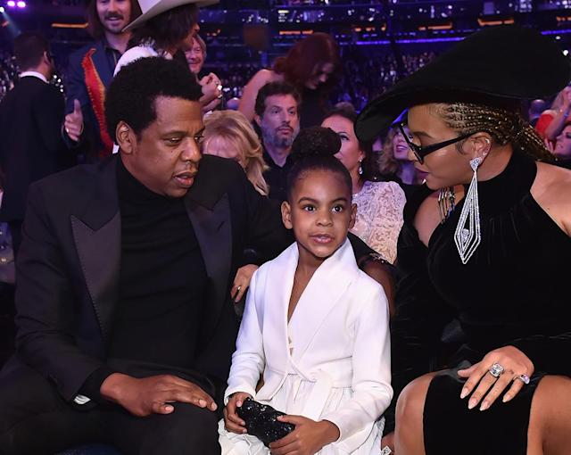 "<p>The glam fam <a href=""https://www.yahoo.com/entertainment/things-beyonce-jay-z-blue-ivy-carter-made-headlines-grammys-175235434.html"" data-ylk=""slk:looked absolutely regal;outcm:mb_qualified_link;_E:mb_qualified_link"" class=""link rapid-noclick-resp"">looked absolutely regal</a> Sunday at the 60th Annual Grammy Awards held at New York City's Madison Square Garden. Bey arrived fashionably late to the awards, with her daughter on her arm. (Photo: Kevin Mazur/Getty Images for NARAS) </p>"