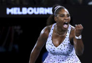 Serena Williams of the U.S. reacts during her second round singles match against Slovenia's Tamara Zidansek at the Australian Open tennis championship in Melbourne, Australia, Wednesday, Jan. 22, 2020. (AP Photo/Dita Alangkara)
