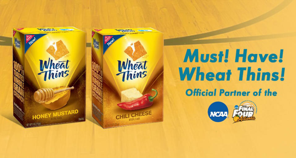 """<b>Crunch time</b>. Reese's isn't the only one with a text entry contest. Text """"wheatthins"""" to 63065 through April 15 or enter by mail for a 55-inch flat-screen TV, a Wheat Thins/NCAA branded basketball jersey, or a mini-basketball. Find official details of the <a href=""""http://mondelez.promotions.com/wtswpsoff/page.do?page=rules.html"""" rel=""""nofollow noopener"""" target=""""_blank"""" data-ylk=""""slk:Must. Have. March Madness. rules."""" class=""""link rapid-noclick-resp"""">Must. Have. March Madness. rules.</a>"""