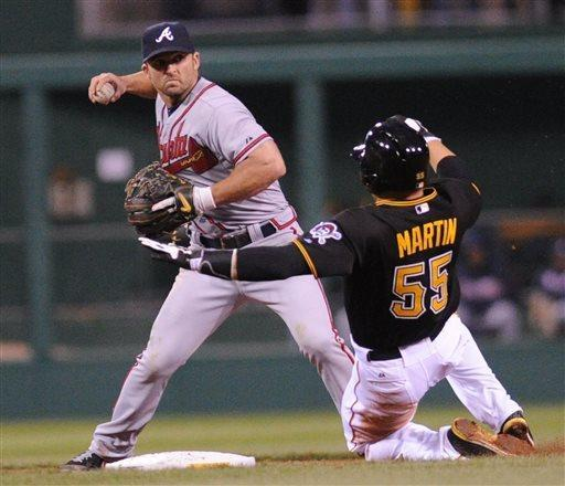 Atlanta Braves second baseman, Dan Uggla, left, gets the first out of a double play, putting out Pittsburgh Pirate Russell Martin, right, in the fourth inning in a baseball game at PNC Park Friday, April 19, 2013 in Pittsburgh. (AP Photo/John Heller)