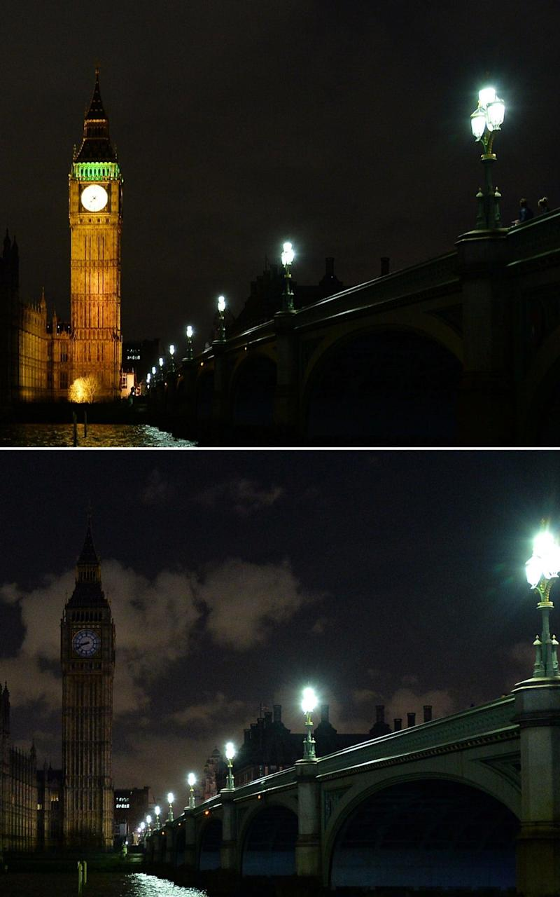 Earth Hour at London's House of Parliament in 2015. - Credit: AFP
