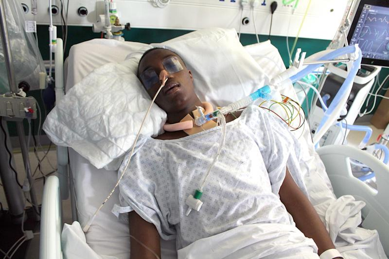 Stabbing victim: Jamel Boyce's parents have released a heart-breaking image of him in hospital: Met Police
