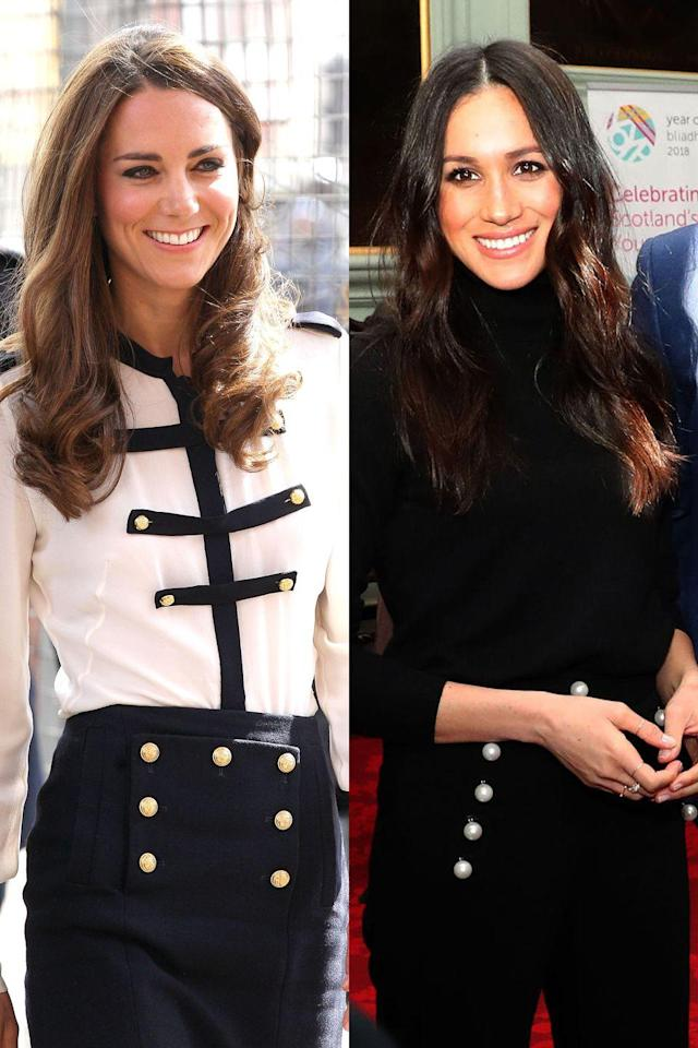 <p>With these nautical-inspired button details, Meghan and Kate are ready for any sailing expedition they might embark on. Kate wore them on a skirt during her trip to Birmingham, England, while Meghan went for pants in Edinburgh, Scotland.</p>