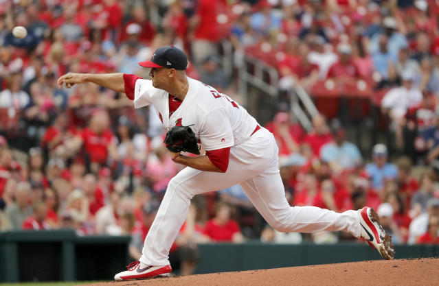 St. Louis Cardinals starting pitcher Jack Flaherty throws during the first inning of a baseball game against the Atlanta Braves, Sunday, May 26, 2019, in St. Louis. (AP Photo/Jeff Roberson)