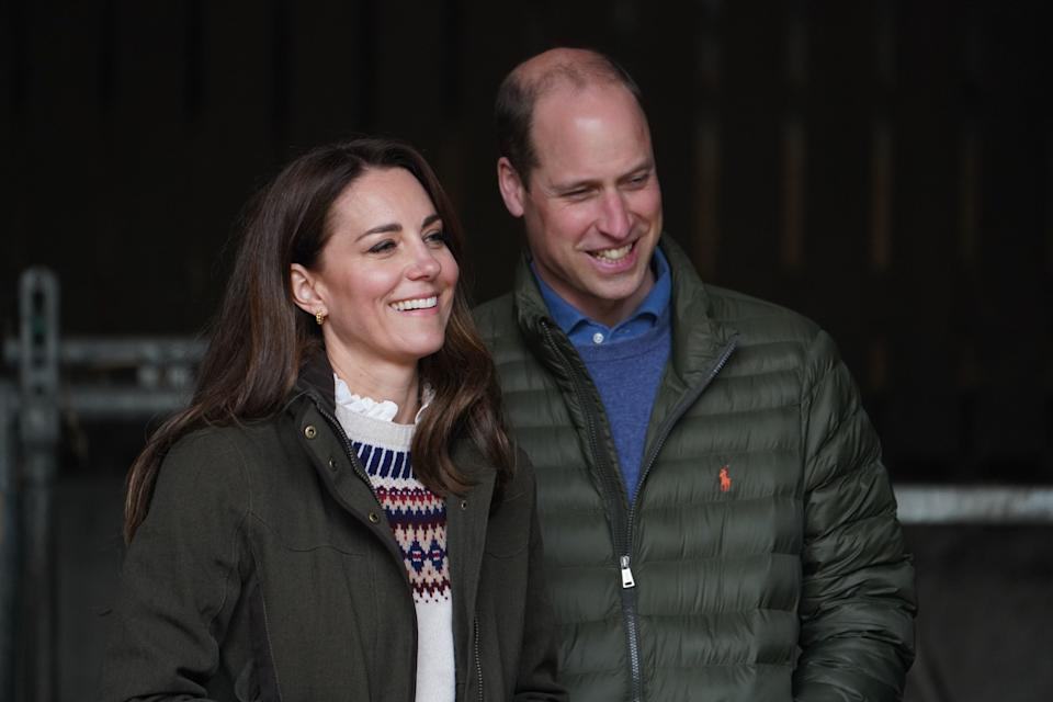 DARLINGTON, ENGLAND - APRIL 27:  Catherine, Duchess of Cambridge and Prince William, Duke of Cambridge smile during a royal visit to Manor Farm in Little Stainton, Durham on April 27, 2021 in Darlington, England. (Photo by Owen Humphreys - WPA Pool/Getty Images)