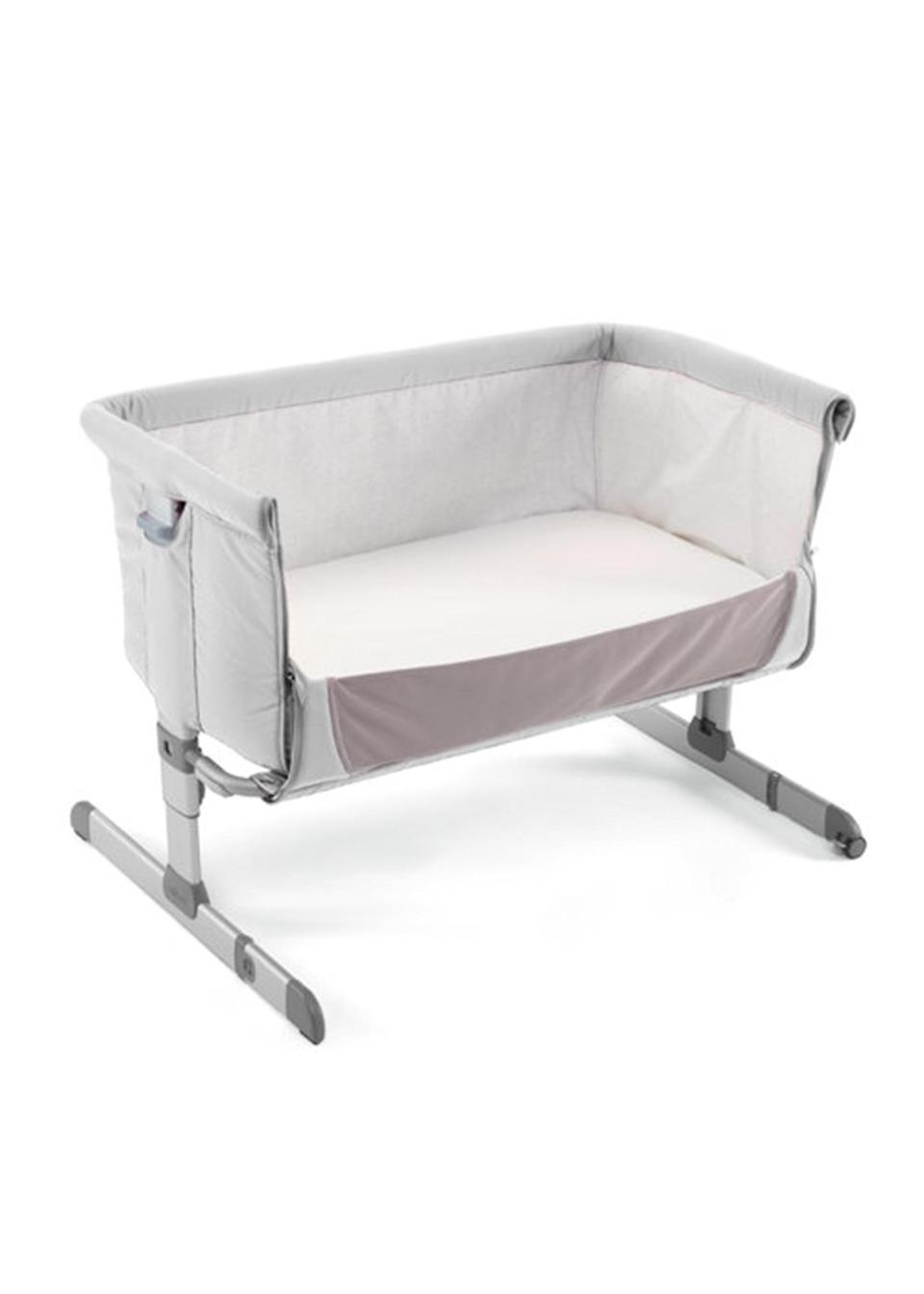 """<p>Numerous parents rave about this bedside cot – and for good reason. The original side-sleeping crib, it allows you to sleep next to your newborn without actually co-sleeping, making those nightime feeds that much easier. <em><a href=""""https://www.mothercare.com/bedside-cribs/chicco-next2me-side-sleeping-crib---light-grey-exclusive-to-mothercare/251446.html"""" rel=""""nofollow noopener"""" target=""""_blank"""" data-ylk=""""slk:Buy here"""" class=""""link rapid-noclick-resp"""">Buy here</a></em>. </p>"""
