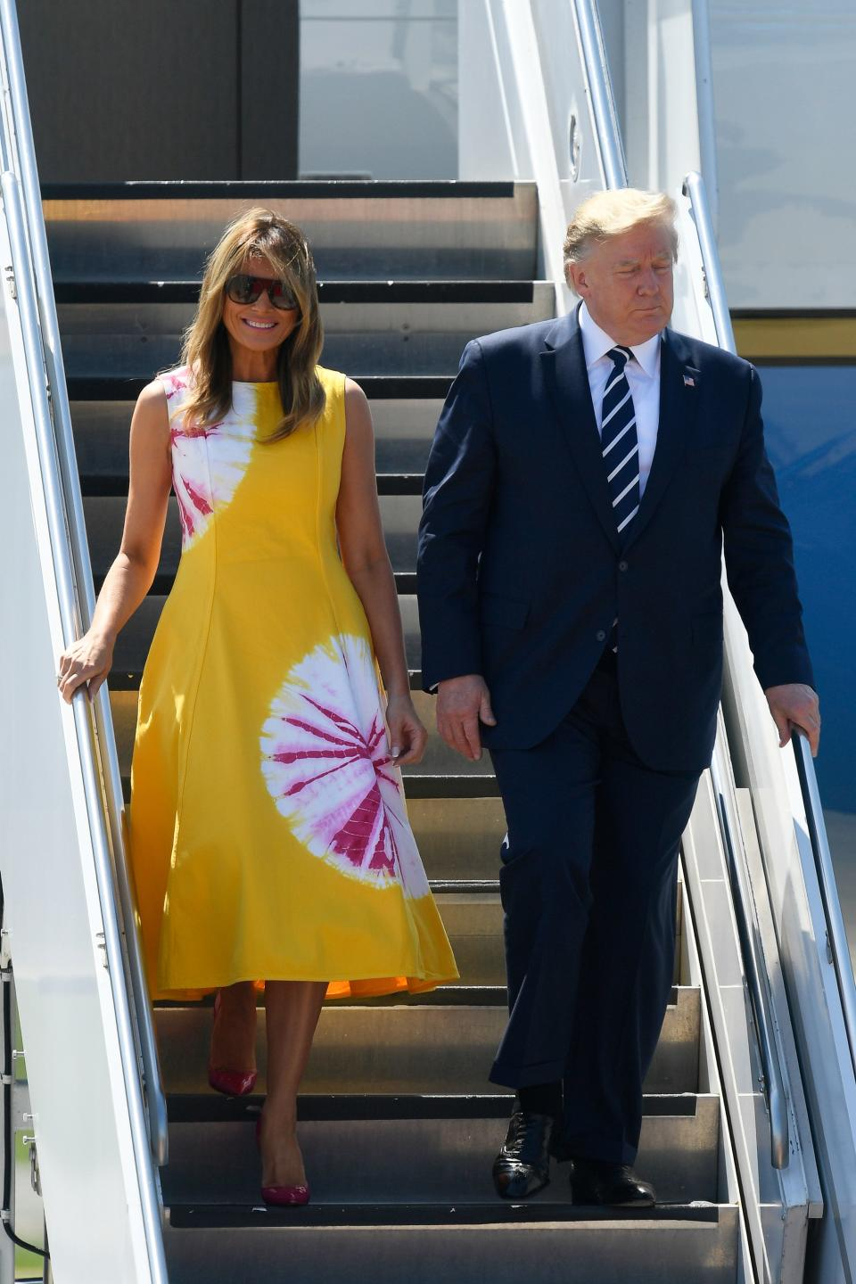 Donald and Melania arrive in Biarritz, south-west France, on August 24, 2019, for the first day of the annual G7 Summit. [Photo: Getty]