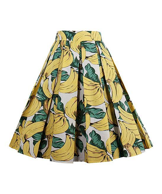 "<p>Sucrefas Yellow Banana Pleated A-Line Skirt, $20, <a href=""https://www.polyvore.com/sucrefas_yellow_banana_pleated_line/thing?id=214121301"" rel=""nofollow noopener"" target=""_blank"" data-ylk=""slk:zulily.com"" class=""link rapid-noclick-resp"">zulily.com</a><br><br></p>"