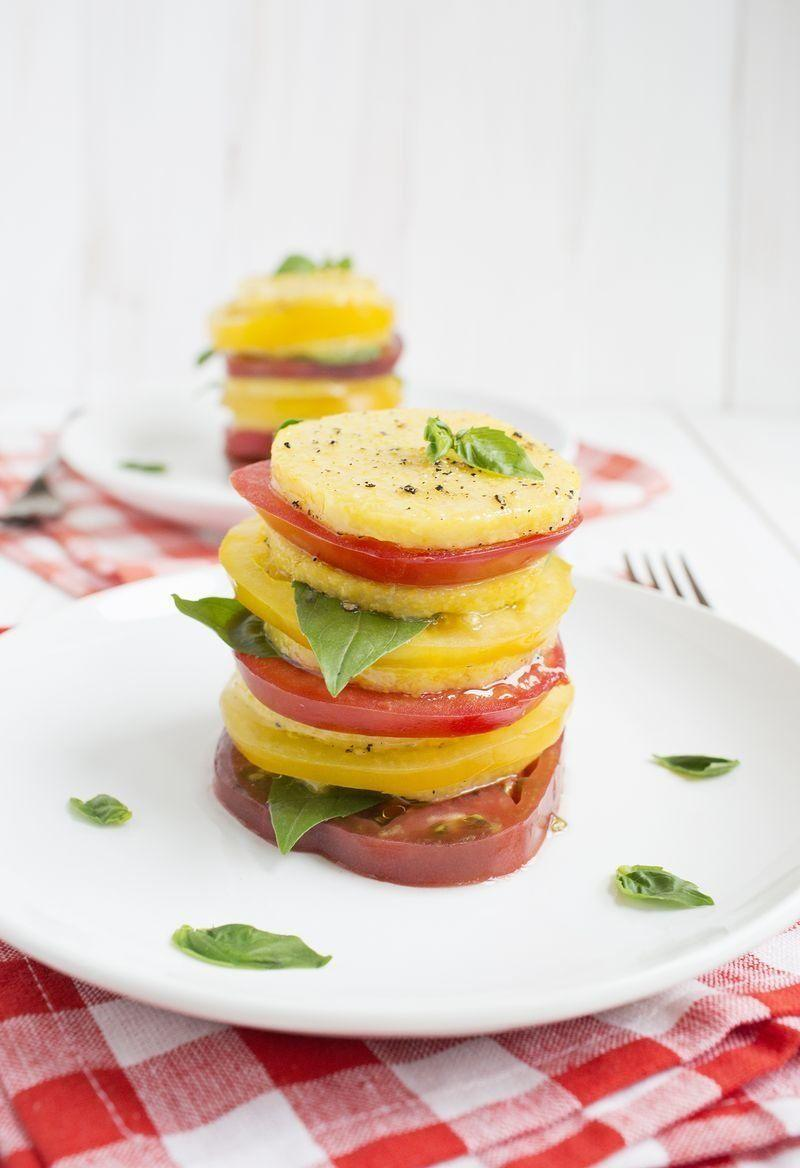 "<strong>Get the <a href=""http://www.abeautifulmess.com/2014/06/baked-polenta-tomato-salad.html"" target=""_blank"">Baked Polenta & Tomato Salad recipe</a> from A Beautiful Mess</strong>"
