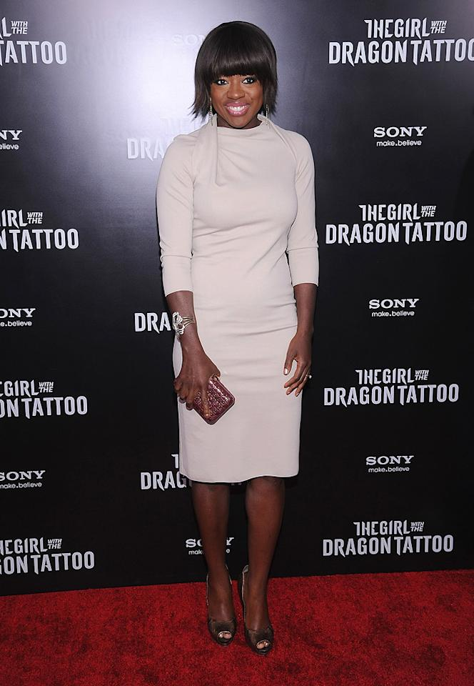 """<a href=""""http://movies.yahoo.com/movie/contributor/1800315745"""">Viola Davis</a> at the New York premiere of <a href=""""http://movies.yahoo.com/movie/1810163569/info"""">The Girl With the Dragon Tattoo</a> on December 14, 2011."""