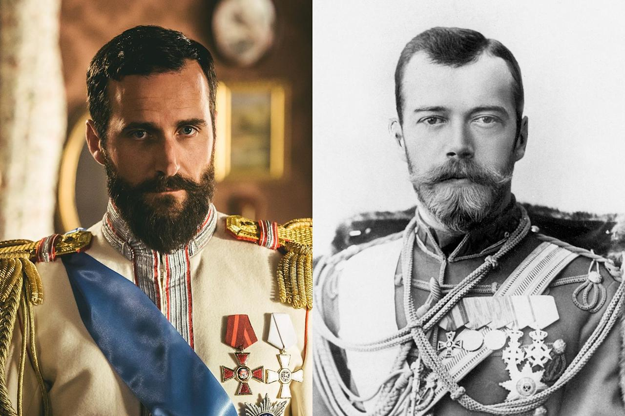 <p>Robert Jack plays Nicholas II, the Romanov patriarch. In the show, his beard is perhaps a little less curly than the real Czar's, but it's a good approximation nonetheless.</p>