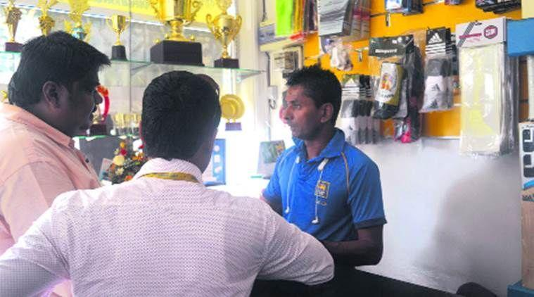 Upul Chandana selling sports goods