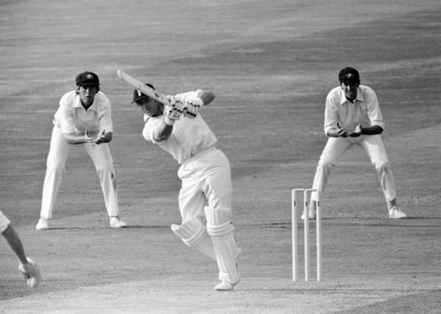 Geoff Boycott hits Greg Chappell for a boundary that took him to his hundredth century at Headingley in 1977