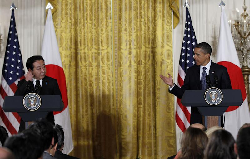 President Barack Obama and Japanese Prime Minister Yoshihiko Noda take part in a joint news conference, Monday, April 30, 2012, in the East Room of the White House in Washington. (AP Photo/Pablo Martinez Monsivais)