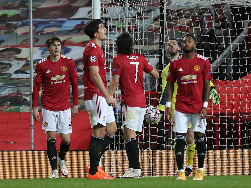 Manchester United players react after conceding in Paris (Getty)