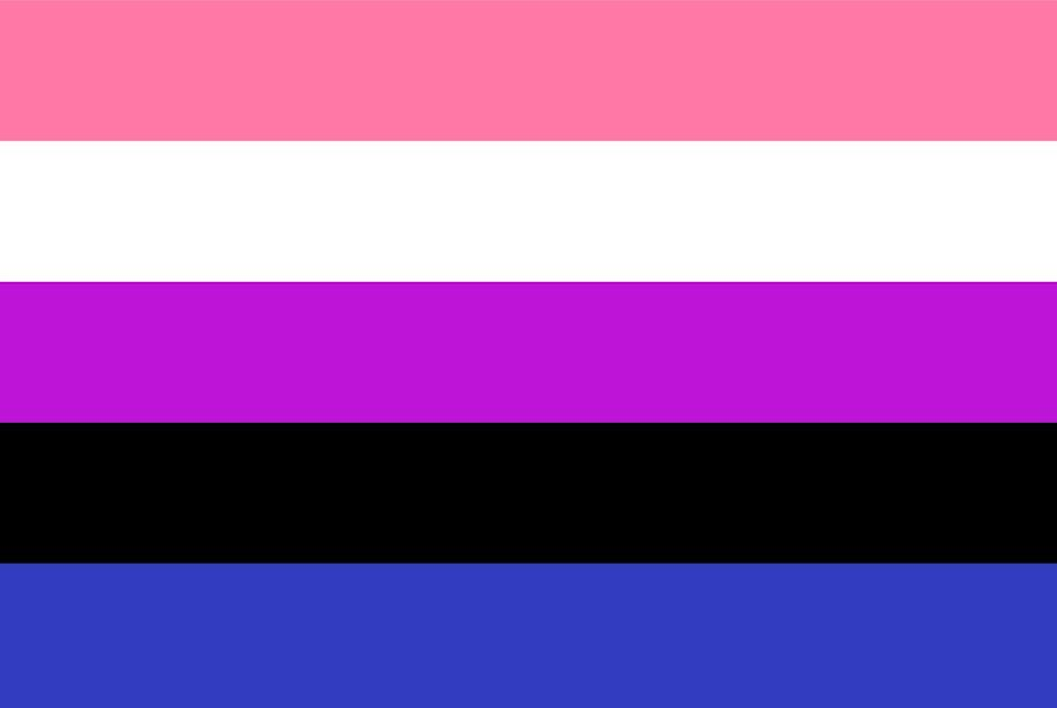 <p>This flag was designed to embody all that genderfluidity can contain (since their gender can vary over time): Pink for femininity, blue for masculinity, white for no gender, black for all genders, and purple for the combination between masculine and feminine. JJ Poole created the flag in 2012.</p>