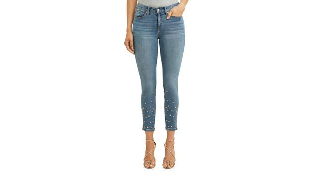 Skinny Studded Mid Rise Stretch Ankle Jean. (Photo: Walmart)