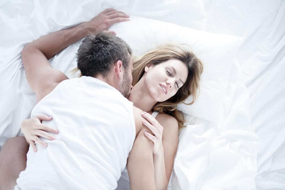 Image of passionate lovers having morning sex