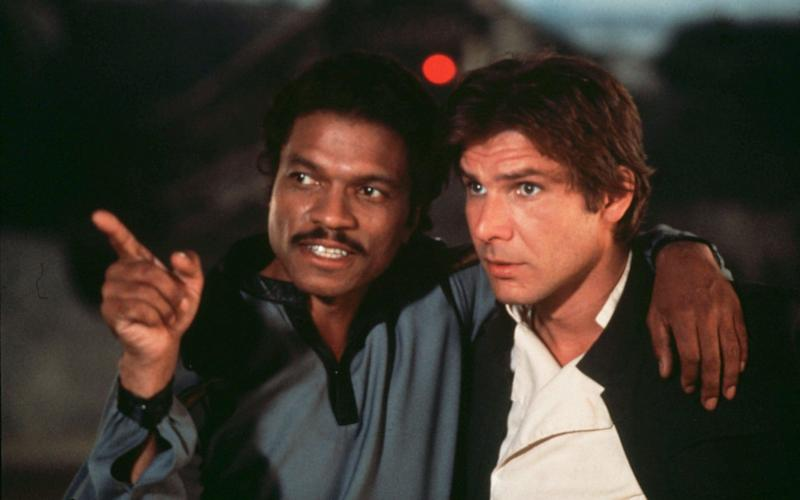 Billy Dee Williams (left) with Harrison Ford in The Empire Strikes Back