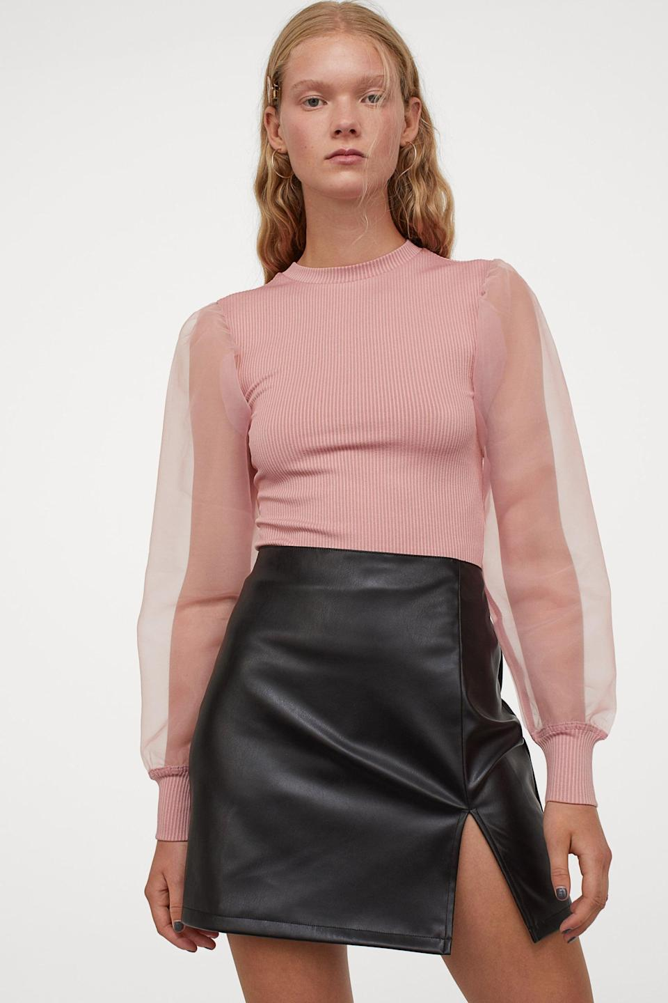 <p>This <span>Organza-sleeved Ribbed Top</span> ($18) is so feminine and ethereal.</p>