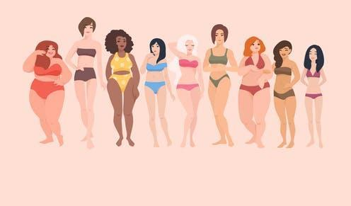 """<span class=""""caption"""">Looking at diverse images can make people less critical of their bodies.</span> <span class=""""attribution""""><a class=""""link rapid-noclick-resp"""" href=""""https://www.shutterstock.com/image-vector/multiracial-women-different-height-figure-type-713100184"""" rel=""""nofollow noopener"""" target=""""_blank"""" data-ylk=""""slk:GoodStudio/Shutterstock"""">GoodStudio/Shutterstock</a></span>"""