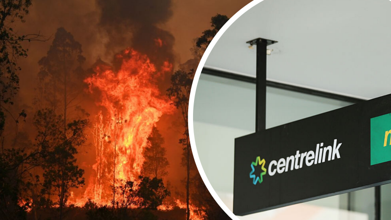 On the left is a picture of a raging bushfire on the right is a picture of a Centrelink sign with logo
