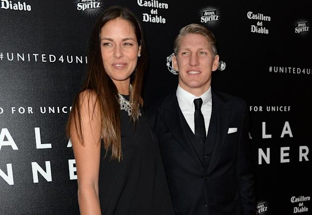 Manchester United star Bastian Schweinsteiger and his girlfriend, tennis player Ana Ivanovic, at the United for UNICEF Gala Dinner at Old Trafford on November 29, 2015 (AFP Photo/Oli Scarff)