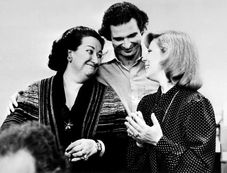 Freni (R, with Spanish soprano Montserrat Caballe, L, and French conductor Alain Lombard in 1977) was particularly known for her roles as Mimi and Desdemona
