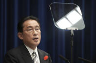 Japanese Prime Minister Fumio Kishida speaks during a news conference at the prime minister's official residence Thursday, Oct. 14, 2021, in Tokyo. Kishida dissolved the lower house of parliament Thursday, paving the way for elections Oct. 31 that will be Japan's first of the pandemic. (AP Photo/Eugene Hoshiko, Pool)