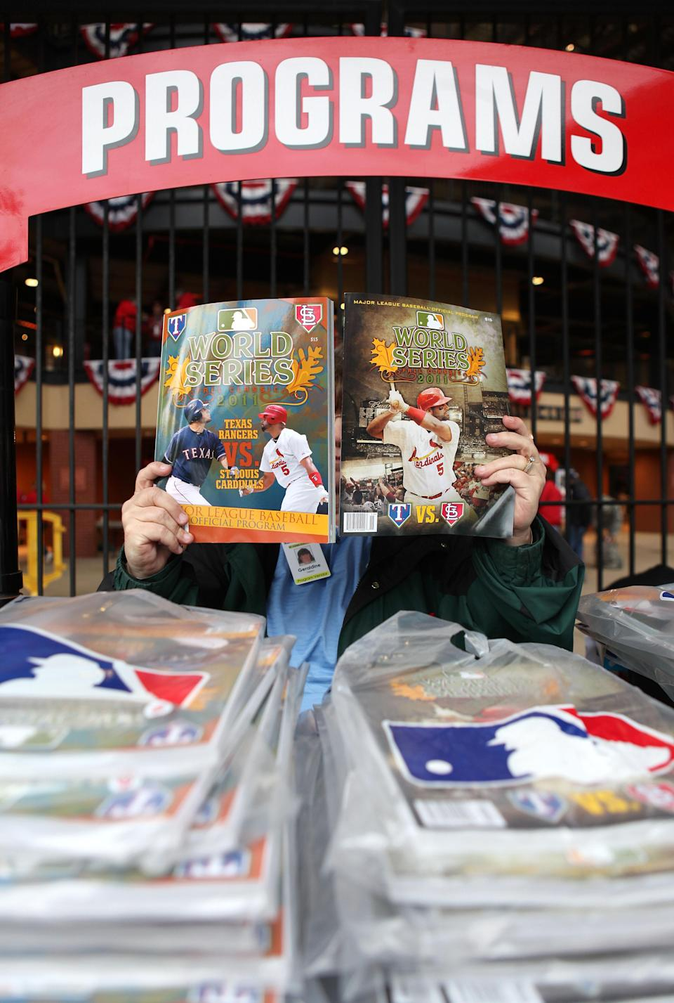 ST LOUIS, MO - OCTOBER 19: Game programs are for sale before Game One of the MLB World Series between the Texas Rangers and the St. Louis Cardinals at Busch Stadium on October 19, 2011 in St Louis, Missouri. (Photo by Jamie Squire/Getty Images)