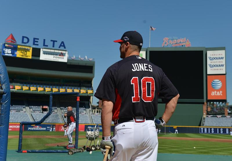 Atlanta Braves Chipper Jones waits his turn during batting practice at Turner Field Thursday, Oct. 4, 2012, in Atlanta. The Braves take on St. Louis Cardinals in the NL wild-card baseball game on Friday. (AP Photo/Atlanta Journal-Constitution, Brant Sanderlin) MARIETTA DAILY OUT; GWINNETT DAILY POST OUT; LOCAL TV OUT; WXIA-TV OUT; WGCL-TV OUT