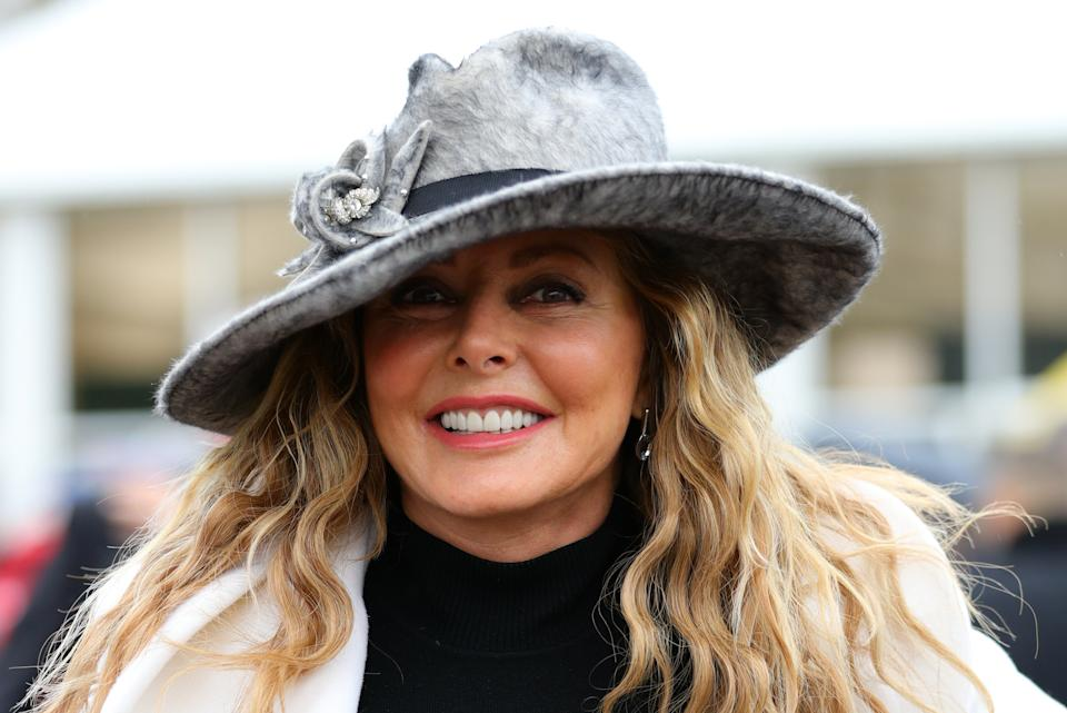 Carol Vorderman during Gold Cup Day of the 2019 Cheltenham Festival at Cheltenham Racecourse.