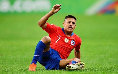 Alexis Sanchez playing for Chilein the Copa America - Credit: getty images