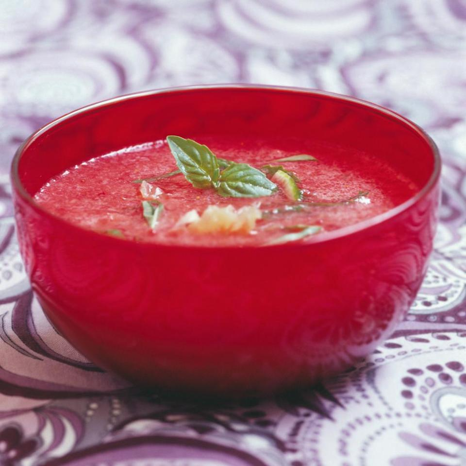 Strawberry and basil soup
