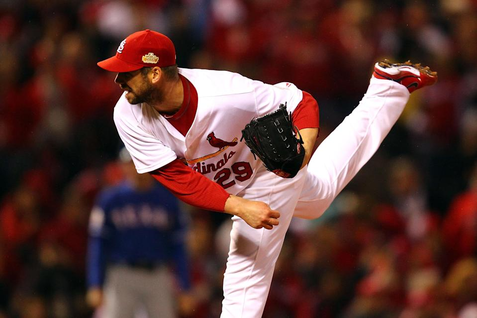 ST LOUIS, MO - OCTOBER 19: Chris Carpenter #29 of the St. Louis Cardinals pitches during Game One of the MLB World Series against the Texas Rangers at Busch Stadium on October 19, 2011 in St Louis, Missouri. (Photo by Dilip Vishwanat/Getty Images)