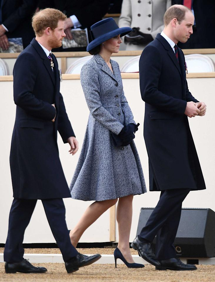 <p>Duchess Catherine attends a Service of Commemoration and Drumhead Service on Horse Guards Parade in central London<span></span> wearing a blue tweed Michael Kors coat and navy accessories.</p>