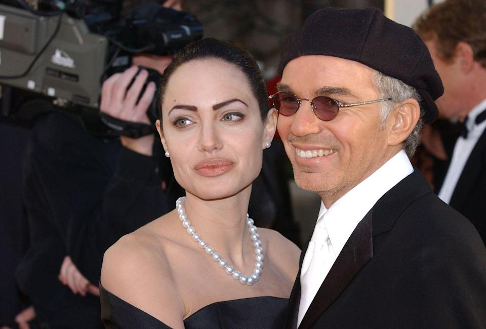 """<p>Angelina Jolie and Billy Bob Thornton connected on the set of Pushing Tin, which led to one of the strangest celebrity relationships. </p><p>Billy Bob was engaged to Laura Dern when he ran off to Las Vegas and married Angelina in 2000. 'I left our home to work on a movie, and while I was away, my boyfriend got married, and I've never heard from him again,' <a href=""""https://abcnews.go.com/Entertainment/story?id=115276&page=1"""" rel=""""nofollow noopener"""" target=""""_blank"""" data-ylk=""""slk:Dern said years later"""" class=""""link rapid-noclick-resp"""">Dern said years later</a>. Angelina and Billy Bob got tattoos of each other's name, swapped underwear, and <a href=""""https://www.instyle.com/news/tbt-angelina-jolie-billy-bob-thornton-relationship"""" rel=""""nofollow noopener"""" target=""""_blank"""" data-ylk=""""slk:gifted each other vials of their blood"""" class=""""link rapid-noclick-resp"""">gifted each other vials of their blood</a>. Wow. The couple <a href=""""https://ew.com/article/2003/09/05/billy-bob-thornton-breaks-silence-angelina-jolie/"""" rel=""""nofollow noopener"""" target=""""_blank"""" data-ylk=""""slk:divorced in 2002"""" class=""""link rapid-noclick-resp"""">divorced in 2002</a>.</p>"""