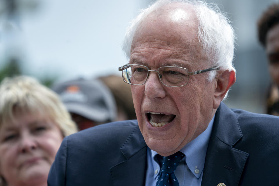 Democratic presidential candidate, Sen. Bernie Sanders, I-Vt., speaks at the Capitol to introduce the Inclusive Prosperity Act, which would impose a tax on Wall Street speculation, in Washington, Wednesday, May 22, 2019. (AP Photo/J. Scott Applewhite)