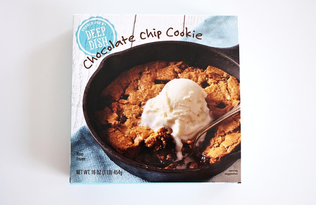 "<p>If you like <a href=""https://www.thedailymeal.com/cook/best-chocolate-chip-cookie-world?referrer=yahoo&category=beauty_food&include_utm=1&utm_medium=referral&utm_source=yahoo&utm_campaign=feed"">chocolate chip cookies</a>, you need this dessert in your life. Trader Joe's Deep Dish Chocolate Chip Cookie is true innovation. The middle is soft and filled with melted chocolate chips, while the outside has the satisfying crunch of a crisp, freshly baked cookie. The skillet is big enough to serve 10 people, but once you taste it, you might not want to share.</p>"