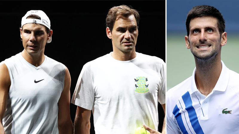 Novak Djokovic (pictured right) looking frustrated and Roger Federer and Rafa Nadal (pictured left together) playing doubles.