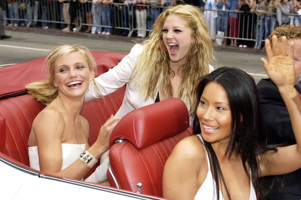 <p>The girls made a habit of arriving to the <em>Charlie's Angels</em> premieres in style, looking glam as they rolled up in a convertible with red leather seats to the L.A. <em>Full Throttle </em>premiere.</p>