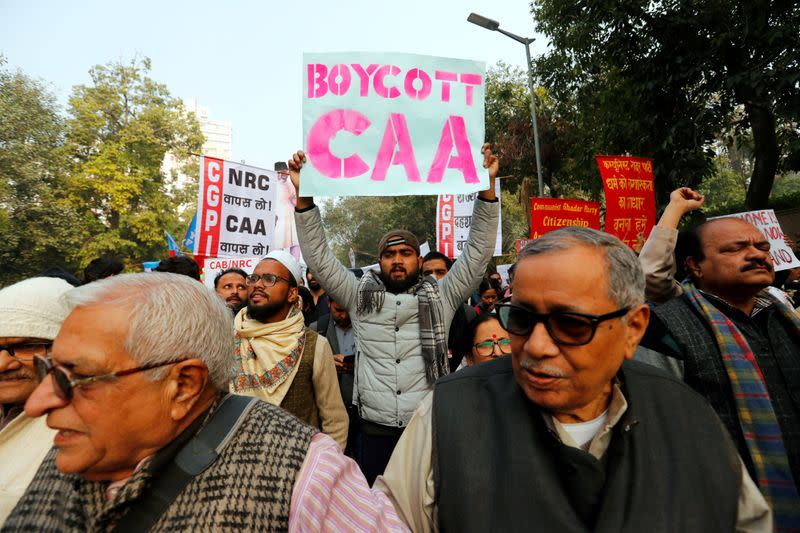 Protest against new citizenship law in New Delhi